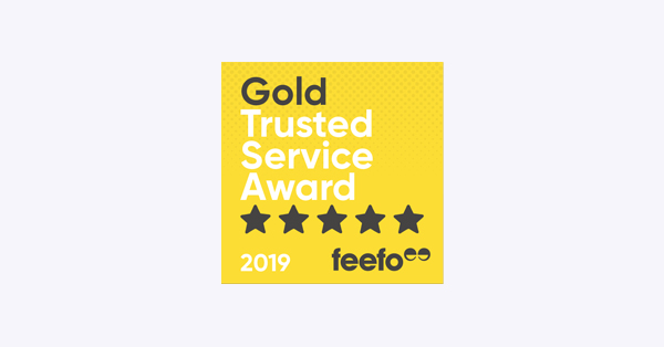 Logo: Gold Trusted Service Award Feefo 2019